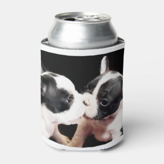 French Bulldog kiss can cooler
