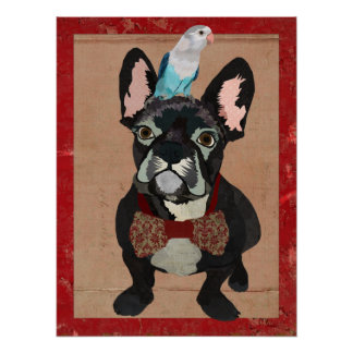 FRENCH BULLDOG & LITTLE BIRD Art Poster
