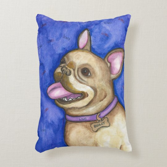"French Bulldog ""Love Bully"" accent pillow"
