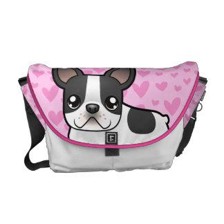 French Bulldog Love Messenger Bags
