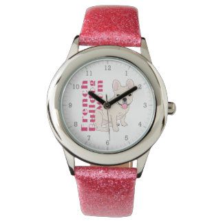 French Bulldog Mom Cute Frenchie Bold Pink Text Watch