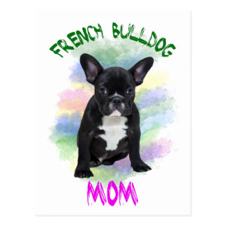 French Bulldog Mom Water Color Oil Painting Art Postcard