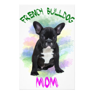 French Bulldog Mom Water Color Oil Painting Art Stationery Design