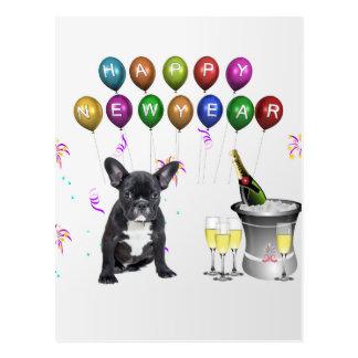 French Bulldog New Year Postcard