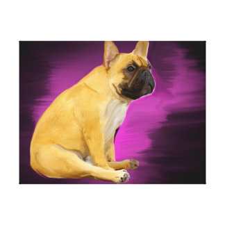 French Bulldog Oil Painting Sitting Frenchie Dog Canvas Print