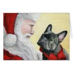 """""""French Bulldog on Santa's Lap"""" Christmas Card"""