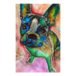 FRENCH BULLDOG PAINTING CUSTOM STATIONERY