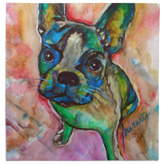 FRENCH BULLDOG PAINTING NAPKIN