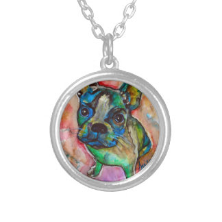 FRENCH BULLDOG PAINTING SILVER PLATED NECKLACE
