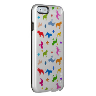 French Bulldog pattern on silver Incipio Feather® Shine iPhone 6 Case