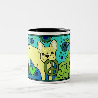 French Bulldog Peace Two-Tone Coffee Mug