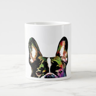 French Bulldog Peek-A-Boo Colorful Watercolor Large Coffee Mug