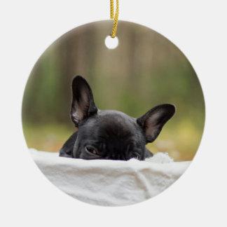 french bulldog peeking puppy ceramic ornament