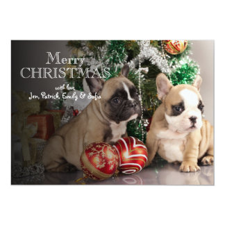 French bulldog puppy and Christmas gifts Card