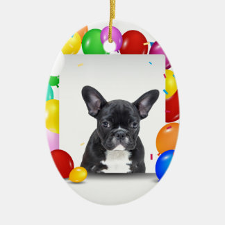 French Bulldog Puppy Colorful Balloons Birthday Ceramic Oval Ornament
