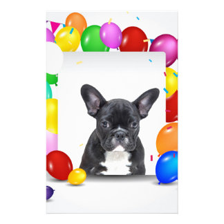 French Bulldog Puppy Colorful Balloons Birthday Customized Stationery