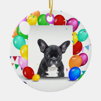 French Bulldog Puppy Colorful Balloons Birthday Round Ceramic Ornament