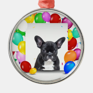 French Bulldog Puppy Colorful Balloons Birthday Silver-Colored Round Ornament