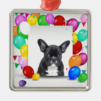 French Bulldog Puppy Colorful Balloons Birthday Silver-Colored Square Ornament