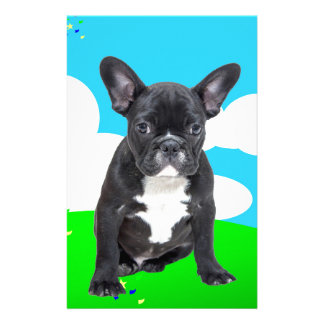 French Bulldog Puppy Happy Birthday Clouds Garden Customized Stationery