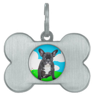 French Bulldog Puppy Happy Birthday Clouds Garden Pet Name Tags