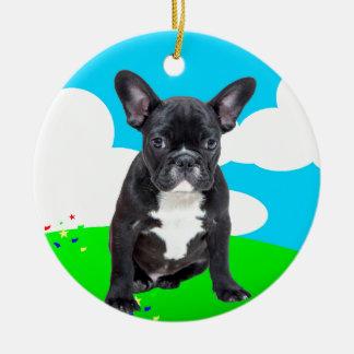 French Bulldog Puppy Happy Birthday Clouds Garden Round Ceramic Ornament