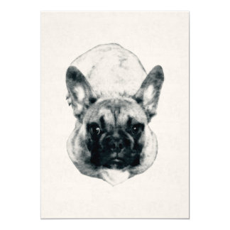 French Bulldog Puppy Ink Portrait on 5x7 Cardstock Card