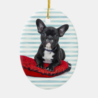 French Bulldog Puppy Portrait Ceramic Ornament