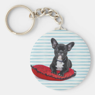 French Bulldog Puppy Portrait Keychain