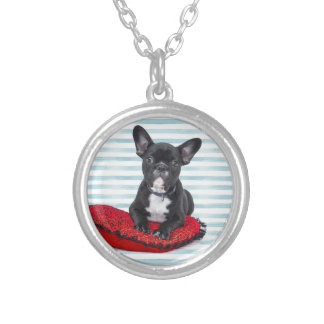 French Bulldog Puppy Portrait Silver Plated Necklace