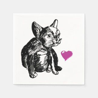 French Bulldog Puppy Sketch Cocktail Paper Napkins