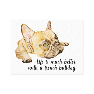 french bulldog quote canvas