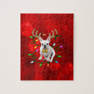 French Bulldog Reindeer Jigsaw Puzzle