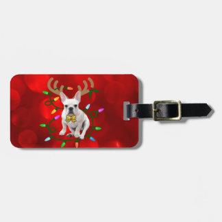 French Bulldog Reindeer Luggage Tag