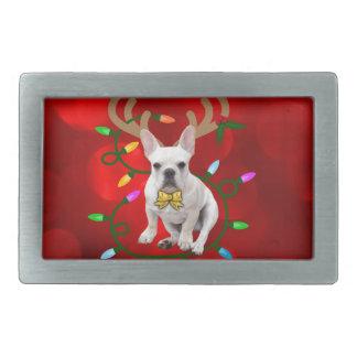 French Bulldog Reindeer Rectangular Belt Buckle