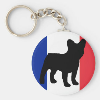 french bulldog silhouette flag keychain