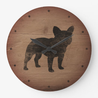 French Bulldog Silhouette Rustic Style Large Clock