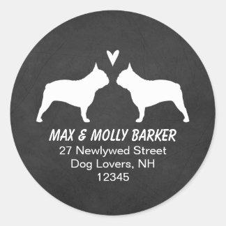 French Bulldog Silhouettes Love Return Address Classic Round Sticker
