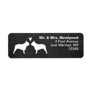 French Bulldog Silhouettes Love Return Address Return Address Label
