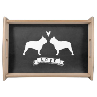 French Bulldog Silhouettes Love Serving Tray