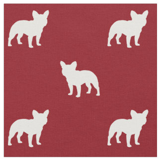 French Bulldog Silhouettes Pattern Fabric