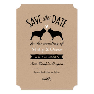 French Bulldog Silhouettes Wedding Save the Date Card