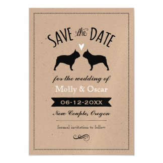 French Bulldog Silhouettes Wedding Save the Date Magnetic Card