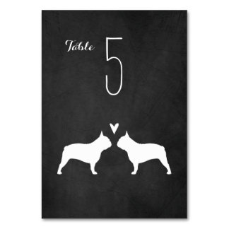 French Bulldog Silhouettes Wedding Table Card