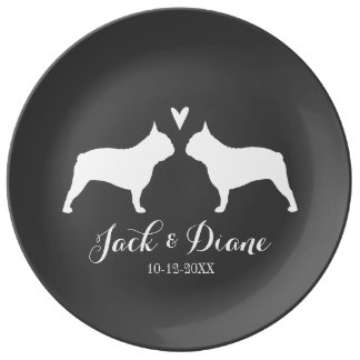 French Bulldog Silhouettes with Heart and Text Plate