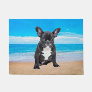 French Bulldog Sitting On Beach Doormat