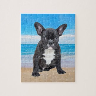 French Bulldog Sitting On Beach Jigsaw Puzzle