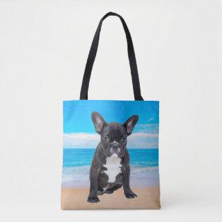 French Bulldog Sitting On Beach Tote Bag