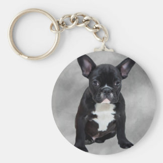 French Bulldog Sitting Watercolor Oil Painting Basic Round Button Keychain