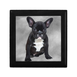 French Bulldog Sitting Watercolor Oil Painting Keepsake Boxes